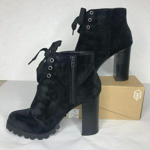 Call It Spring Penha Velvet Lace-Up Boots